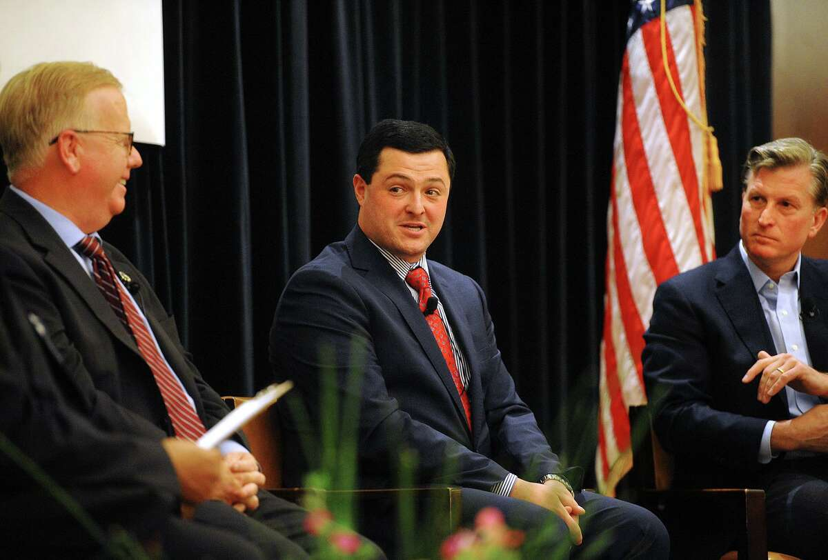 From left; Republican candidates for governor Mark Boughton, Tim Herbst, and Steve Obsitnik field questions during a gubernatorial forum sponsored by the CT Technology Council at the Trumbull Marriott in Trumbull, Conn. on Wednesday, June 13, 2018.
