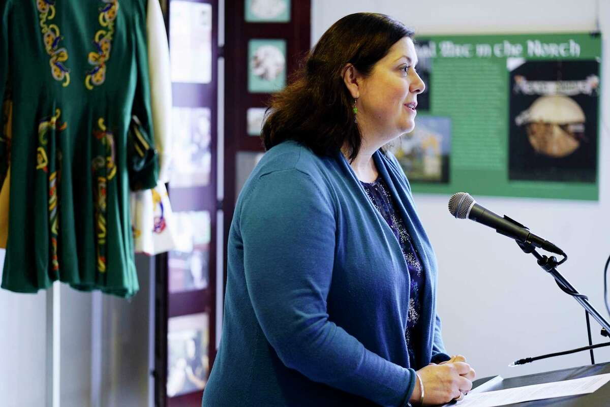 Elizabeth Stack, executive director of the Irish American Heritage Museum, speaks at a press conference at the museum's new location on Tuesday, March 3, 2020, in Albany, N.Y. (Paul Buckowski/Times Union)