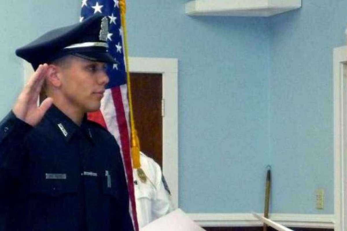 Officer Alex Relyea at his swearing-in ceremony in New Milford in 2012