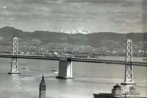 Mount Diablo covered by snow, as seen from the Mark Hopkins Hotel, January 31, 1937