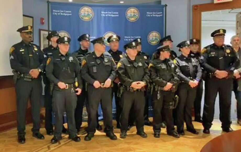 A screenshot of the video posted on the Bridgeport Police Department Facebook page of a ceremony honoring city police on Sunday, March 1, 2020. Photo: Contributed Photo / Bridgeport Police Department