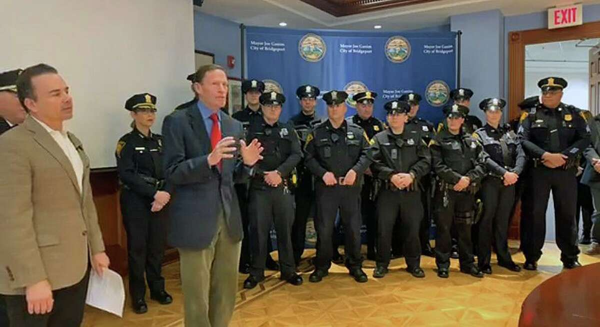 A screenshot of the video posted on the Bridgeport Police Department Facebook page of a ceremony honoring city police on Sunday, March 1, 2020.