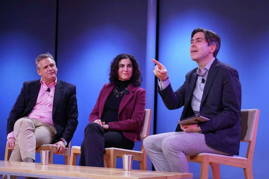 """Dr. Frank Bartolomeo, Dr. Karen E. Eshoo and Dr. Matthew Croasmun were on a panel """"In pursuit of flourishing life: Is college the key?"""" at Grace Farms in New Canaan on Friday, Feb. 21. Photo: Grace Duffield / Hearst Connecticut Media"""