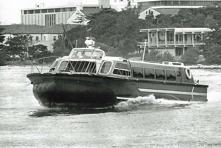 Hovercraft Excalibur flies on Miami River to Miami Seaquarium in 1976. Photo: Albert Coya / Miami Herald