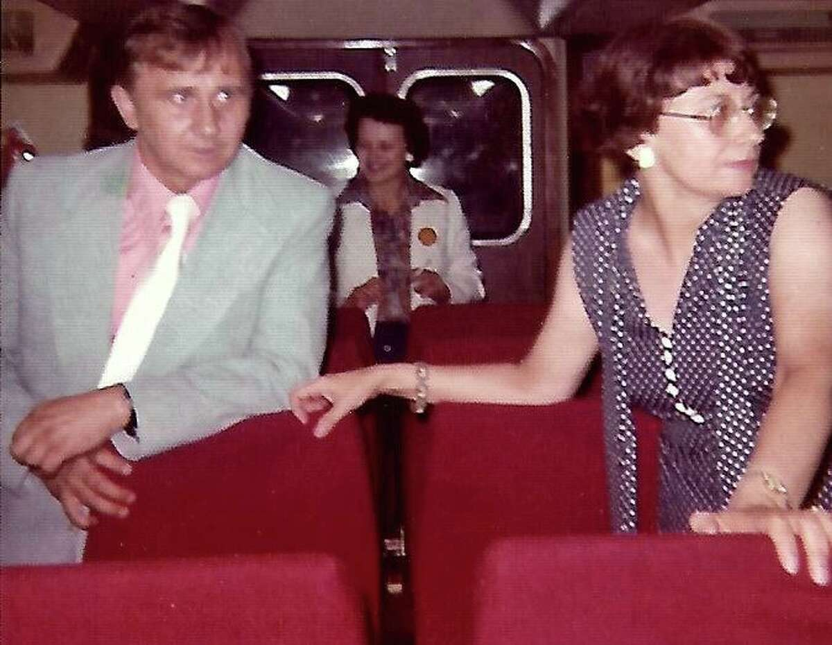 From left, Robert Weldon, his wife, Georgiana and his sister, Patricia Garmella, in the passenger cabin of the hovercraft Excalibur on June 26, 1976.