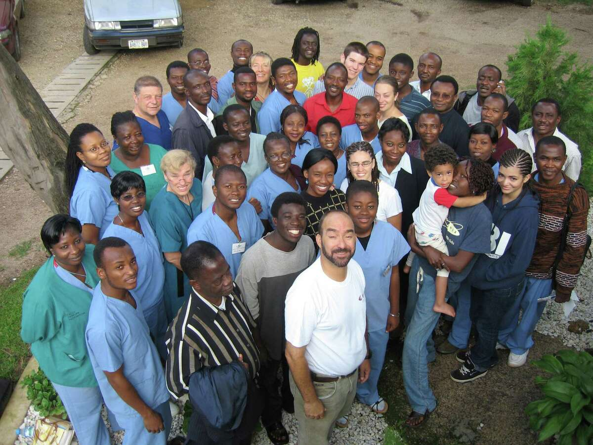 Dr. John Nwangwu and others take part in a medical outreach program at Plateau State Mission in Nigeria in 2007.