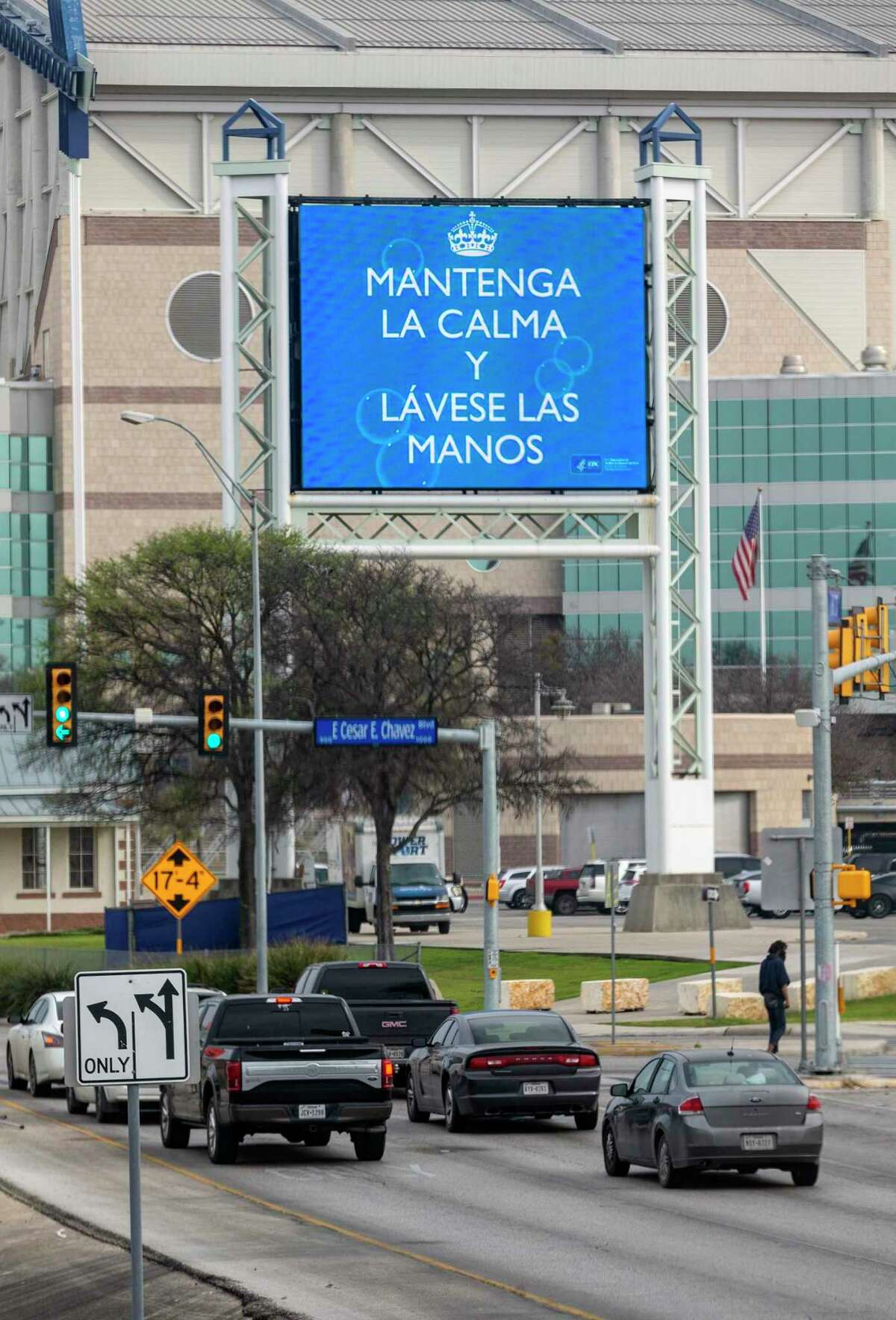 The Alamodome marque sign displays a coronavirus message Tuesday, March 3, 2020 a day after the City of San Antonio and Bexar County both declared states of medical emergency to prevent people being quarantined by the federal government on JBSA-Lackland from being released into the city or county.
