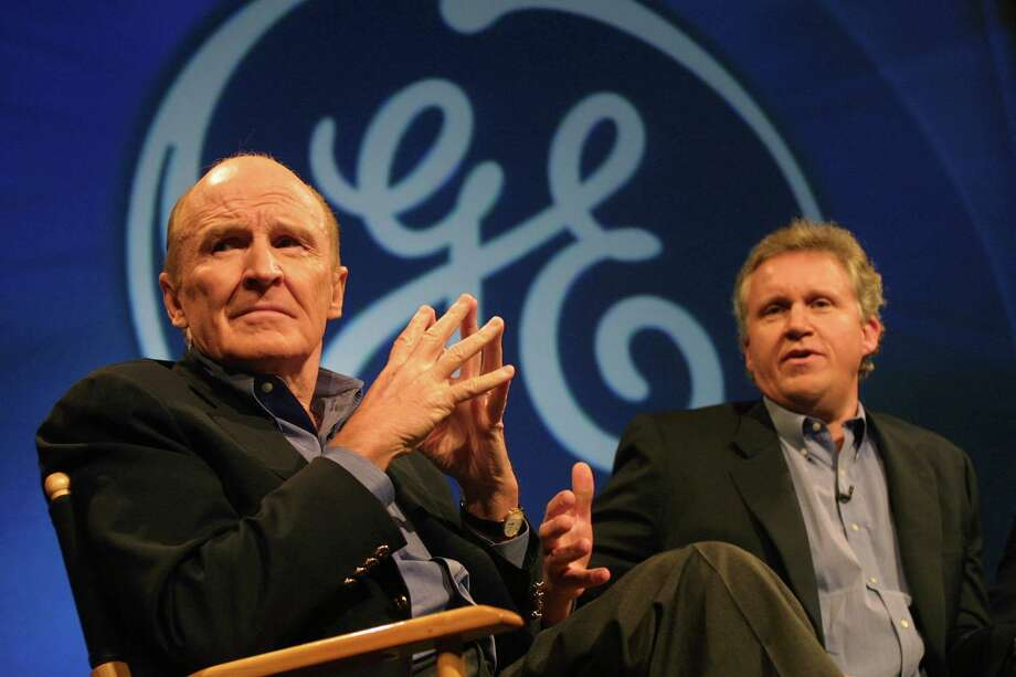 Jeffrey Immelt, right, General Electric's President and Chairman-Elect, speaks as CEO Jack Welch, left, listens during a November 2000 news conference in New York. Immelt succeeded Welch as GE's Chairman and CEO when Welch retired at the end of 2001. Photo: Shawn Baldwin /Bloomberg