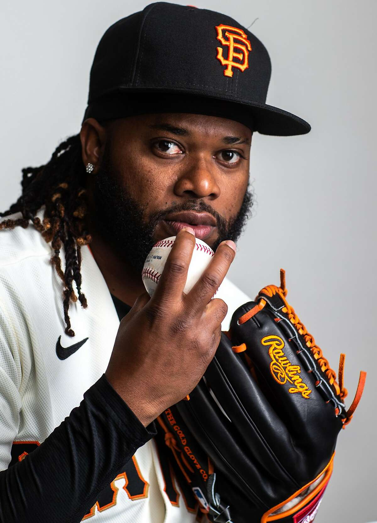 PHOENIX, AZ - FEBRUARY 18: Johnny Cueto $47 of the San Francisco Giants poses for a portrait on Photo Day at Scottsdale Stadium, the spring training complex of the San Francisco Giants on February 18, 2020 in Phoenix, Arizona. (Photo by Rob Tringali/Getty Images)
