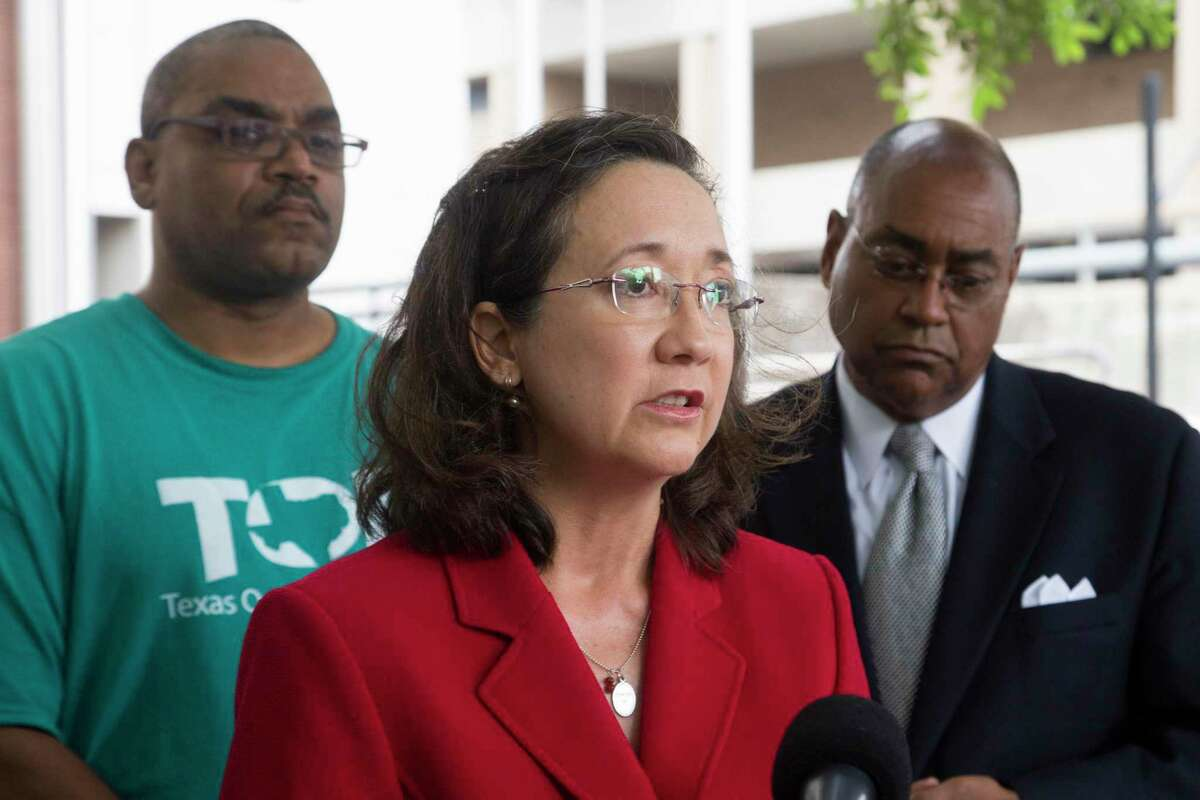 Sandra Guerra Thompson, the Director of the Criminal Justice Institute at the University of Houston Law Center speaks about a class action lawsuit against Harris County's bail system and criticized the practice of ignoring the risk assessments and instead follow a bail schedule and keep the individuals in jail because they can't afford to pay bail. Thursday, May 26, 2016, in Houston. ( Marie D. De Jesus / Houston Chronicle )
