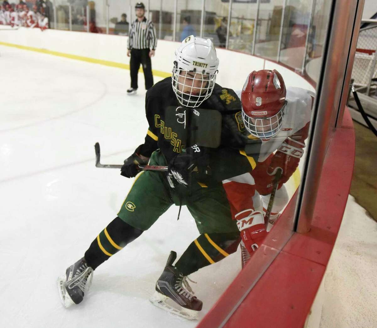 Trinity Catholic's Emmett Donoghue during a game against Greenwich in 2019.