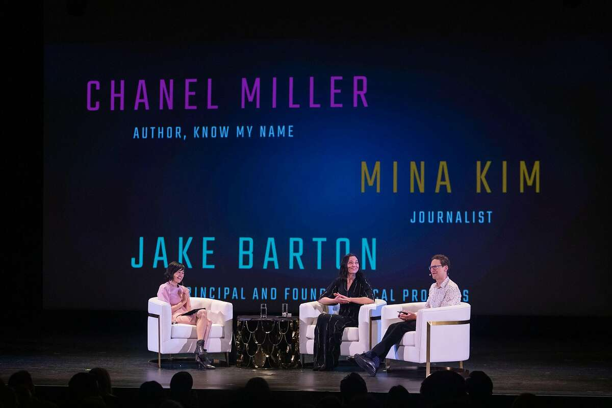 Journalist Mina Kim talks with author and sexual assault survivor Chanel Miller and museum designer Jake Barton at�Futures Without Violence: Night of Courage 2020 on February 11, 2020.