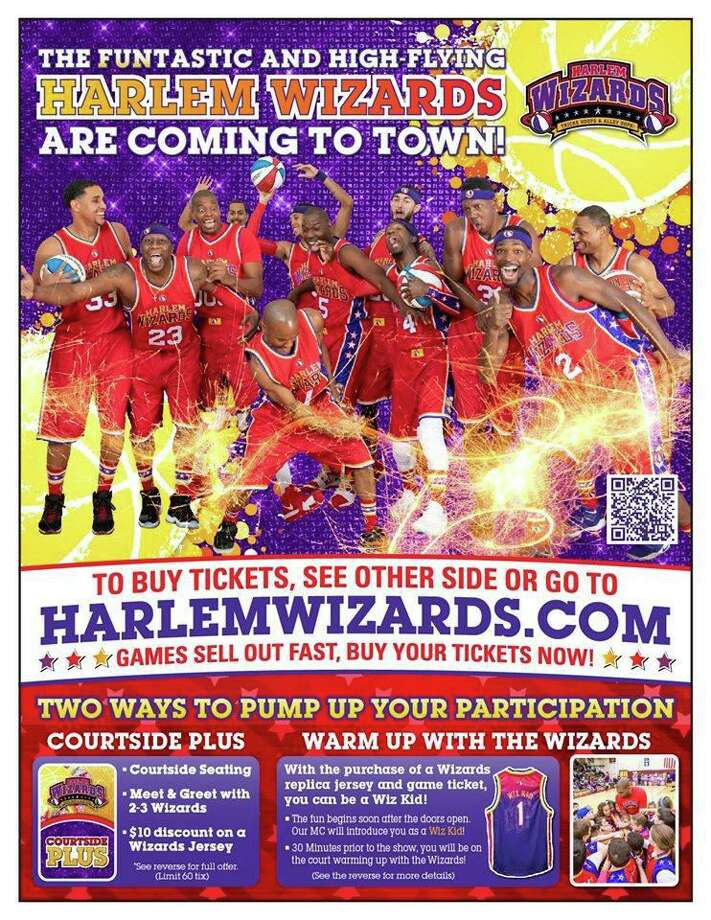 The Harlem Wizards are coming to Housatonic Valley Regional High School to play against a team of faculty and staff. The event is a fundraiser for the travel clubs of all Region One schools, including 8th grade class trips and the HVRHS International Travel Fund. Pictured is a promotional poster for a Harlem Wizards fundraiser. Photo: Harlem Wizards / Contributed Photo /