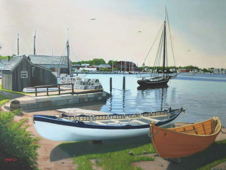 "The Valentine H. Zahn Community Gallery will hold a reception March 12 for its Local Vision V exhibit, ""Take a Breath."" The curated group exhibition will feature artists from Connecticut and Massachusetts. Above, ""Whaleboats at Mystic,"" by Chet White. Photo: Contributed Photo /"