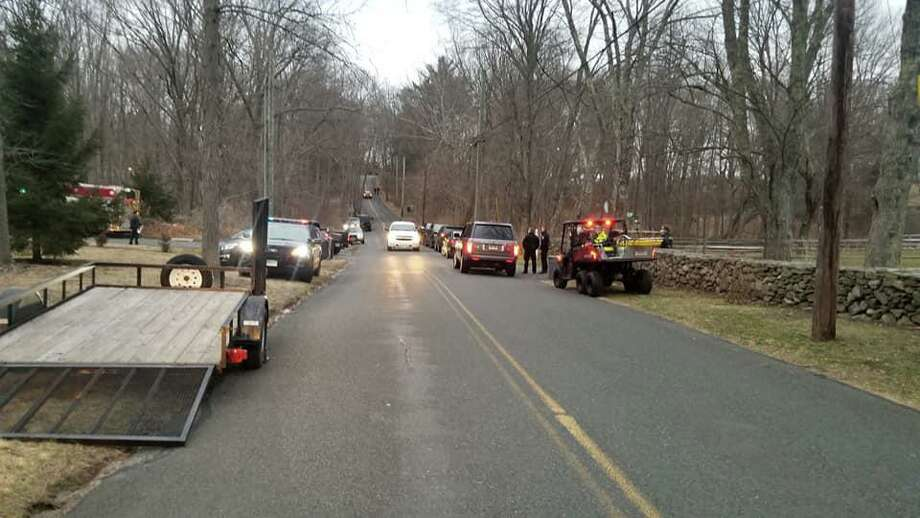 First responders on scene, searching for a missing woman in Easton, Conn., on Monday, March 3, 2020. Photo: Contributed Photo / Easton EMS