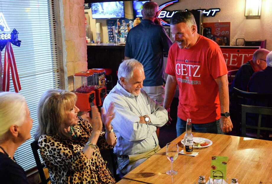 Incumbent Ward II Commissioner Mike Getz talks to people at his watch party at the Boudain Hut Saturday evening. Photo taken on Saturday, 05/04/19. Ryan Welch/The Enterprise Photo: Ryan Welch, Beuamont Enterprise / The Enterprise / © 2019 Beaumont Enterprise