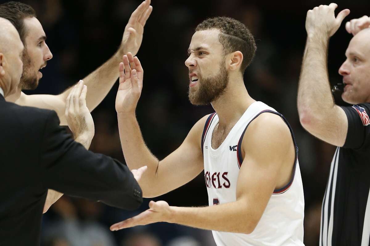Saint Mary's guard Jordan Ford (3) celebrates after a timeout against Lehigh during the second half of an NCAA college basketball game in Moraga, Calif., Saturday, Nov. 23, 2019. (AP Photo/Jed Jacobsohn)