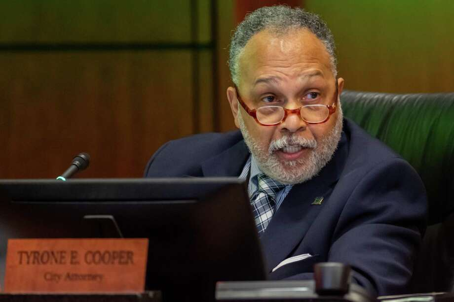 City Attorney Tyrone Cooper lays out his version of the incident that led to the censure of Councilman Mike Getz at the Beaumont City Council meeting on March 3, 2020 Fran Ruchalski/The Enterprise Photo: Fran Ruchalski / 2020 Beaumont Enterprise All Rights Reserved