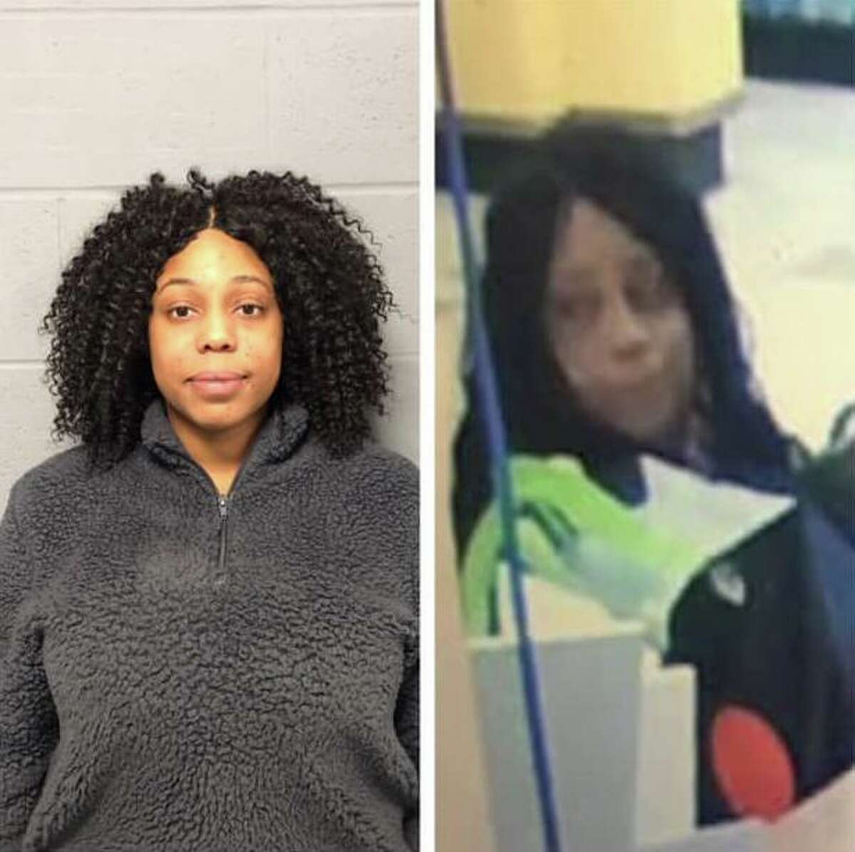 Shamira White, 29, has been charged with sixth-degree larceny. Police say the photo on the right is from an alleged theft at Stop & Shop last month, and claim the woman in the image is White.