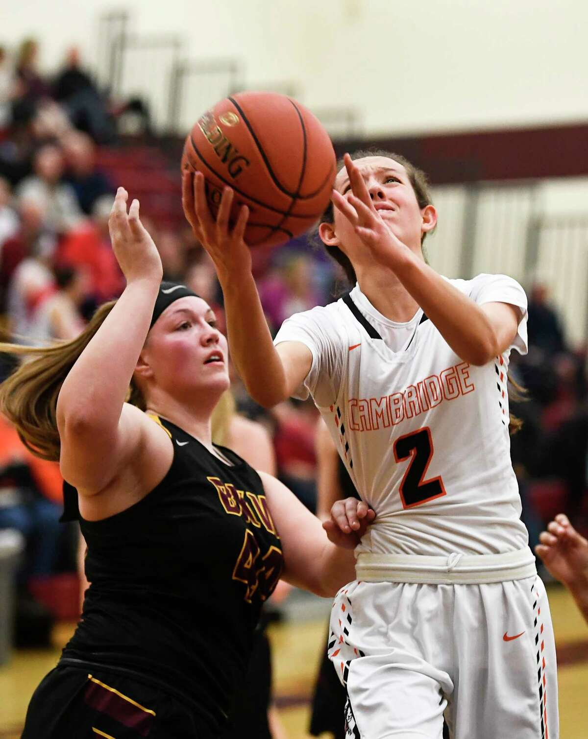 Berne-Knox-Westerlo's Reagan Smith (44) defends against Cambridge's Sophie Phillips (2) during a girls' Section II Class C high school semifinal basketball game Tuesday, March 3, 2020 in Colonie, N.Y.