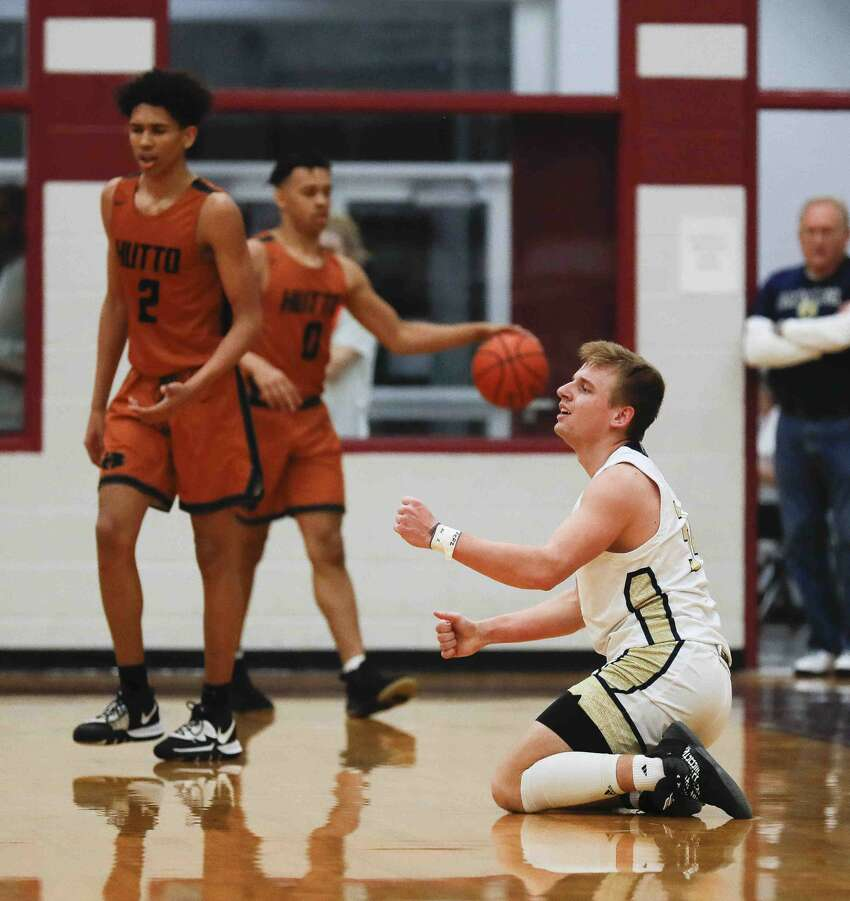 Lake Creek small forward Zack Hazlewood (34) reacts after being called for a foul during the fourth quarter of a Region III-5A quarterfinal high school playoff game at Hearne High School, Tuesday, March 3, 2020, in Hearne.