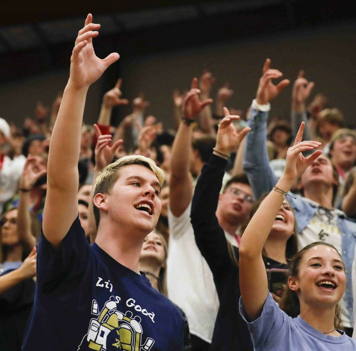 Lake Creek fans cheer during the fourth quarter of a Region III-5A quarterfinal high school playoff game at Hearne High School, Tuesday, March 3, 2020, in Hearne.
