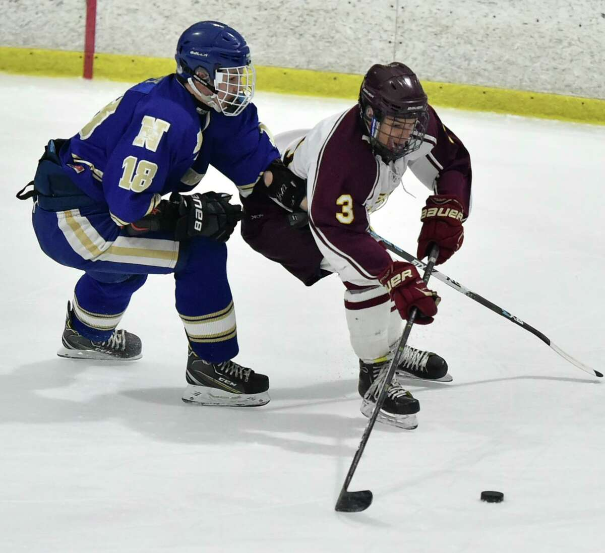 Milford, Connecticut - Tuesday, March 04, 2020: Sheehan H.S. vs. Newtown during the first period of the SCC/SWC 2020 Boys Ice Hockey Division III semifinals Tuesday evening at the Milford Ice Arena in Milford.