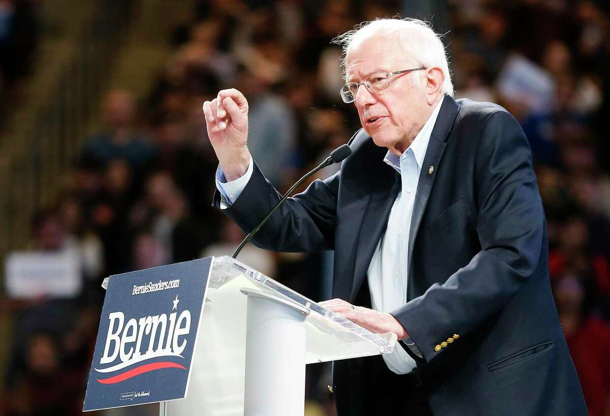 Democratic primary presidential candidate Bernie Sanders speaks during a rally at the Fertitta Center at the University of Houston on Sunday, Feb. 23, 2020.