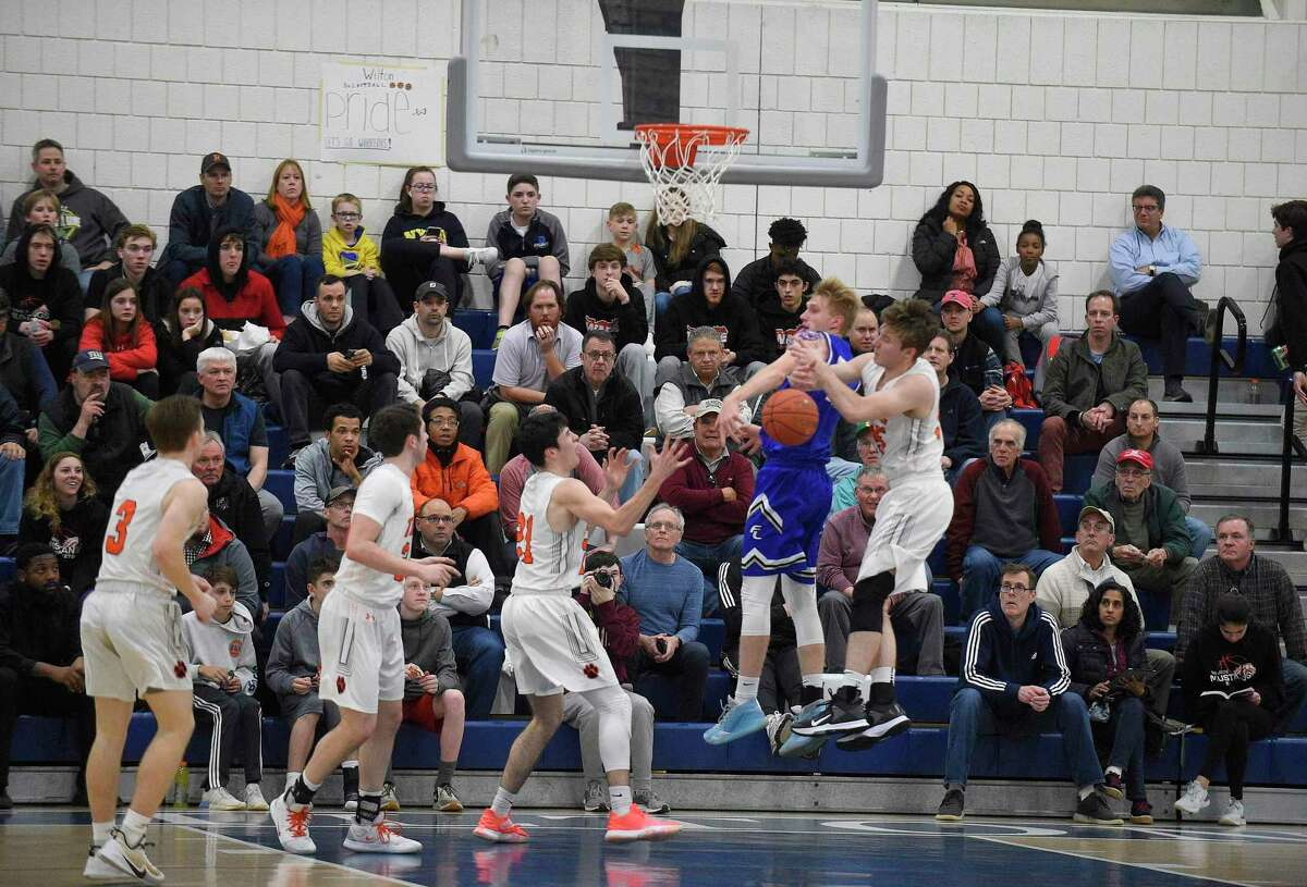 Ridgefield defeated Fairfield Ludlowe 54-47 in a FCIAC boys basketball semifinal game at Wilton High School on March 3, 2020 in Wilton.