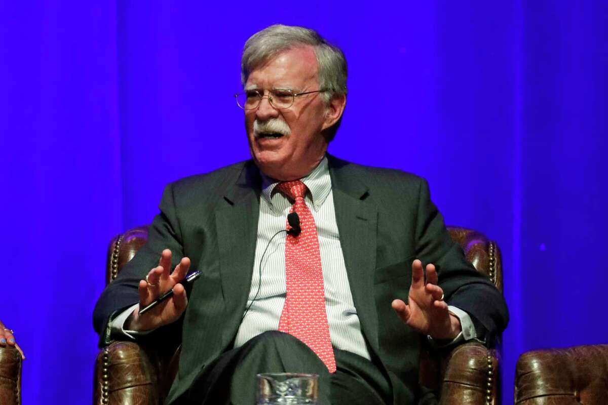 Former national security adviser John Bolton takes part in a discussion on global leadership at Vanderbilt University Wednesday, Feb. 19, 2020, in Nashville, Tenn. (AP Photo/Mark Humphrey)