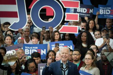 Democratic presidential hopeful former Vice President Joe Biden speaks to supporters during a campaign stop on Monday, March 2, 2020 at Texas Southern University in Houston.