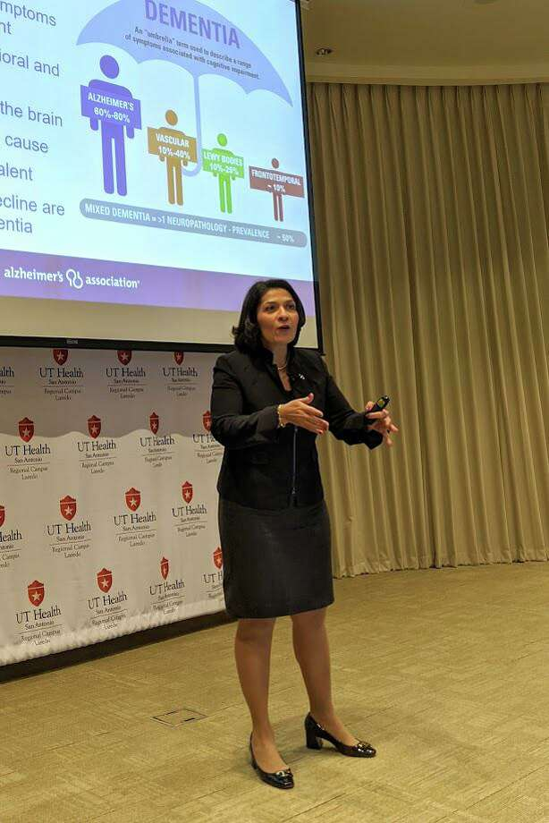 Dr. Maria Carrillo speaks Tuesday in the UT Health San Antonio Laredo Regional Campus auditorium. Photo: Jason Mack / Laredo Morning Times