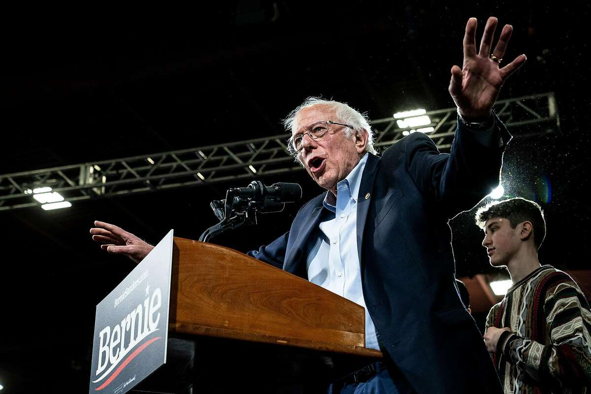 Sen. Bernie Sanders (I-Vt.), a candidate for the Democratic nomination for president, speaks at a campaign event in Essex Junction, Vt., on Super Tuesday, March 3, 2020. (Erin Schaff/The New York Times)