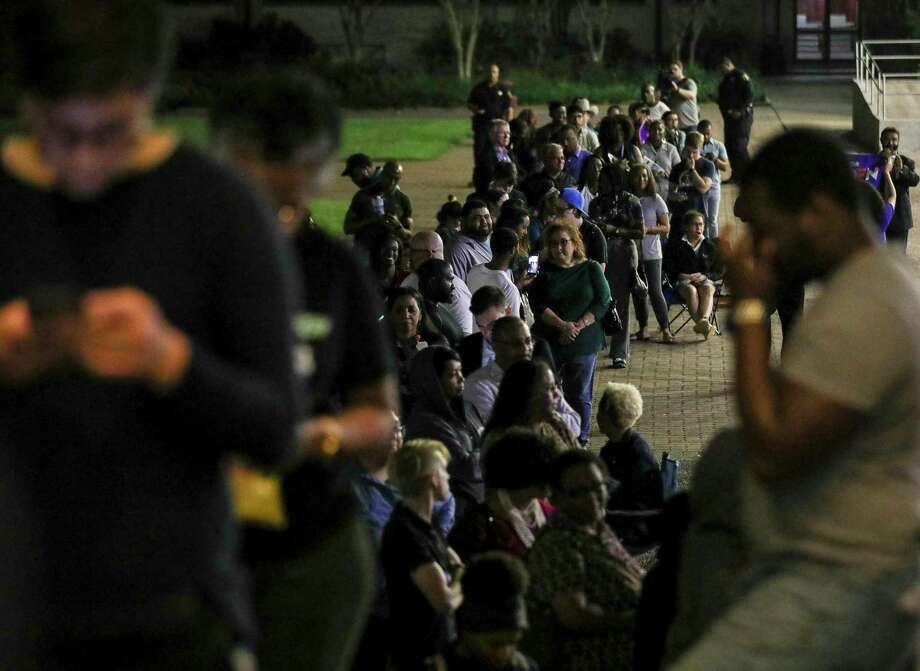 People wait in line to vote around 9:45 p.m. on March 3, 2020, at Texas Southern University in Houston. Photo: Jon Shapley, Staff Photographer / © 2020 Houston Chronicle