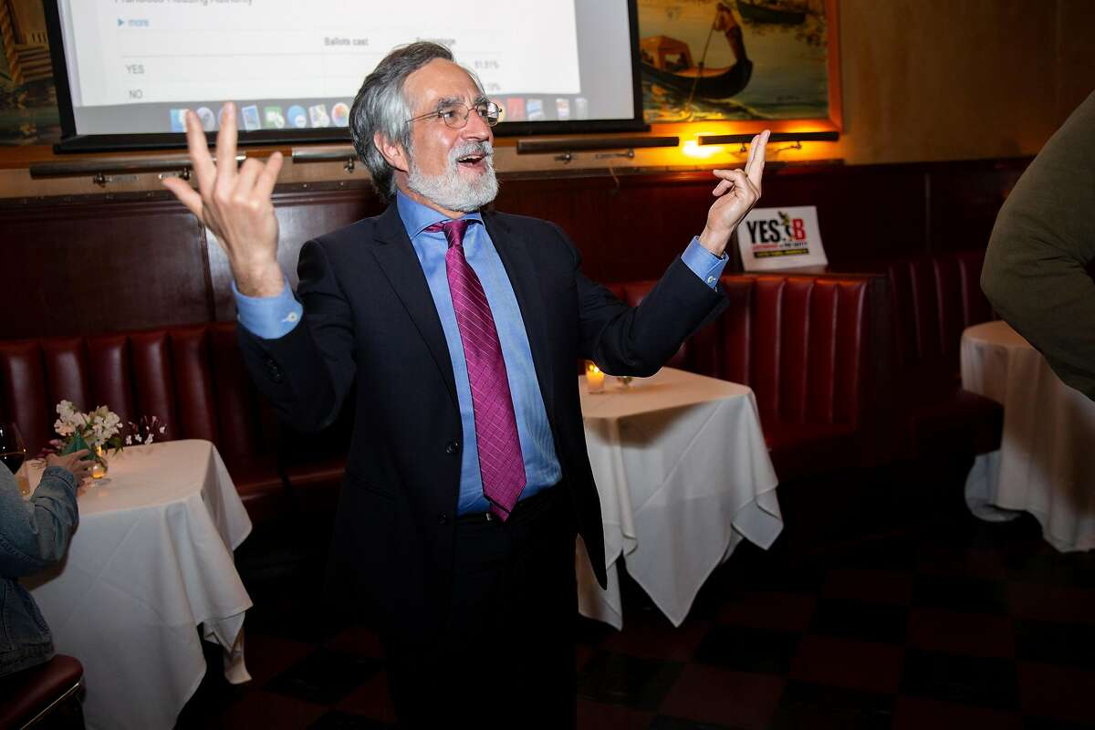 Supervisor Aaron Peskin reacts to the Prop D results at Tosca Cafe during an election-night party for both Prop B and Prop D on Tuesday, March 3, 2020, in San Francisco, Calif.