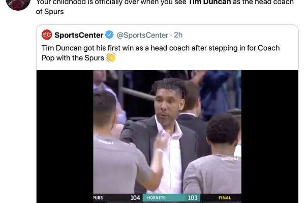 Tim Duncan stepped in as the head coach of the Spurs Tuesday night.