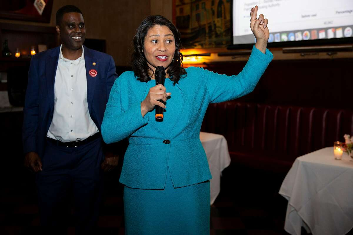 San Francisco Mayor London Breed (right) with Firefighters Union Local 798 president Shon Buford at Tosca Cafe during an election-night party for both Prop B on Tuesday, March 3, 2020, in San Francisco, Calif.