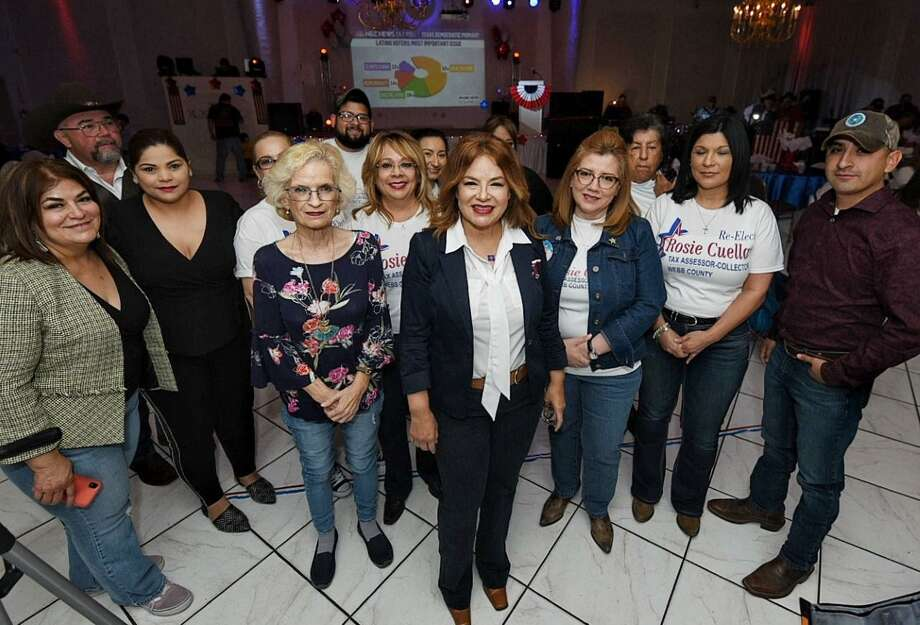 Rosie Cuellar gathered with supporters on Tuesday night as she awaited results of the primary election. Photo: Danny Zaragoza /Laredo Morning Times