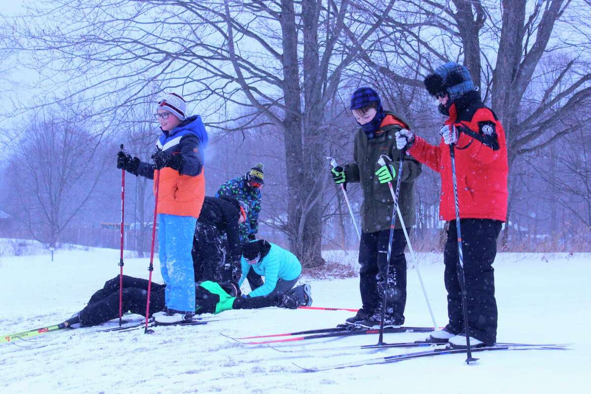 Frankfort fifth grade students enjoy a fun end to a winter of learning to cross country ski with a trip to Crystal Mountain. (Photo/Robert Myers)