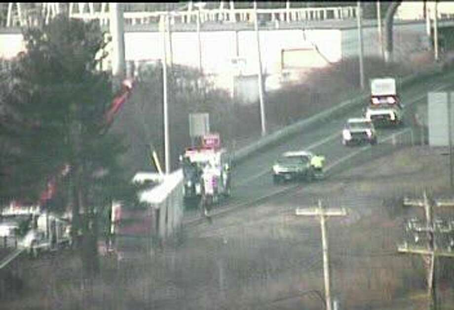 A tractor-trailer accident on northbound I-95 has closed the Exit 42 off ramp on Wednesday morning. Photo: Traffic Cam Image