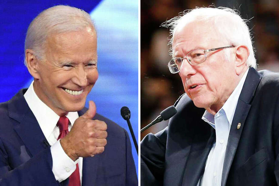 Democratic presidential candidates former Vice President Joe Biden and Sen. Bernie Sanders are pictured together in this composite photo. Photo: Getty Images/Houston Chronicle