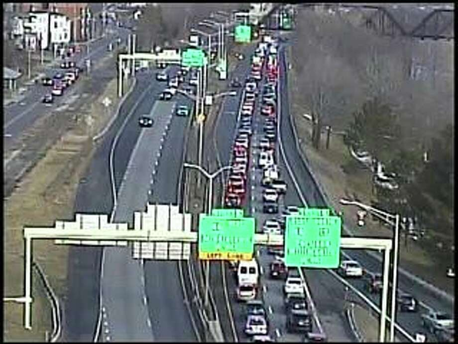 A disabled tractor-trailer truck is causing heavy delays on Route 9 north in Middletown on Wednesday morning. Photo: Traffic Cam Image