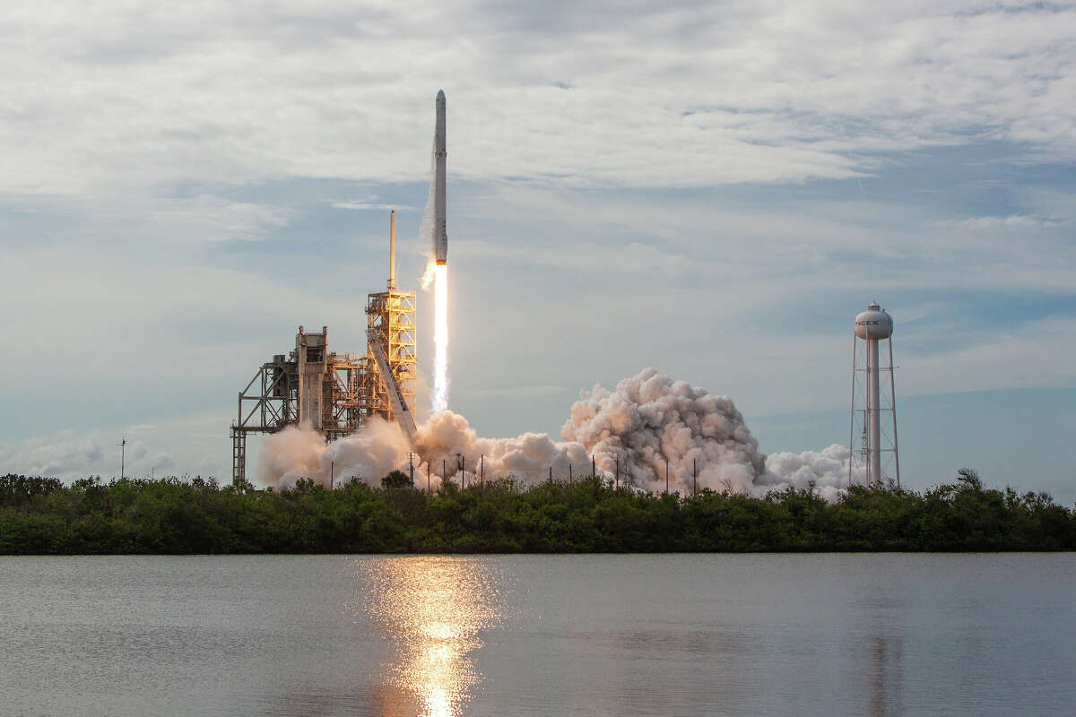 Pictured is a SpaceX Falcon 9 rocket launch. The commercial space company is donating a rocket booster to be displayed at Space Center Houston.