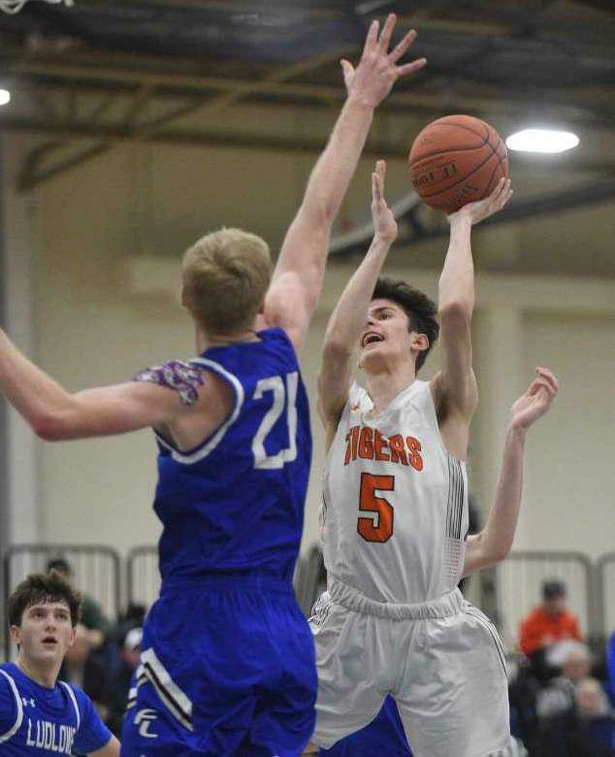 Amos Grey looks to take a shot during Ridgefield's win over Fairfield Ludlowe in the FCIAC semifinals.