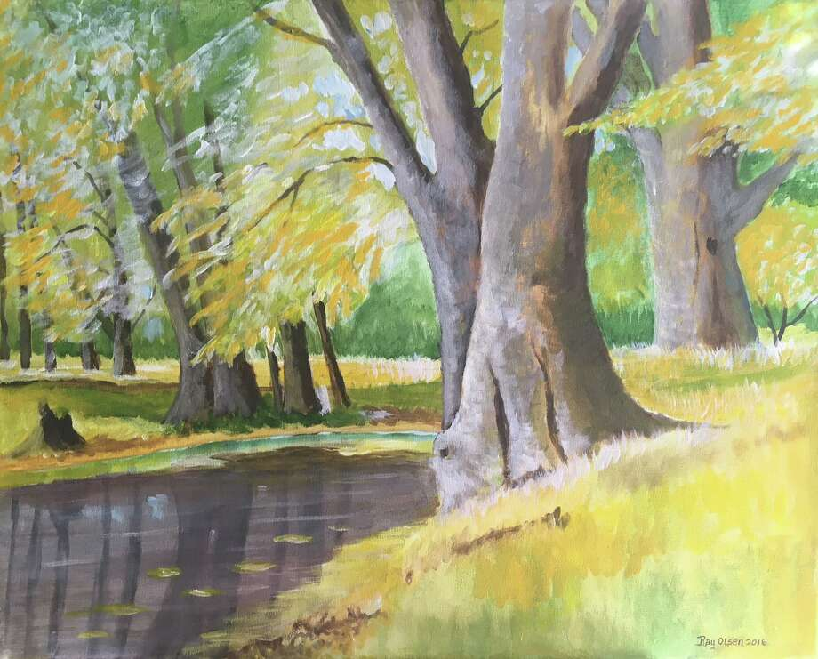 """Kent Memorial Library is presenting an exhibit of art by Cornwall artist Ray Olsen March 13 through April 29. """"Wilderness of New England"""" will be on view at the 32 North Main St. library. Above is """"Autumn Stream,"""" an acrylic on canvas. Photo: Courtesy Of Kent Memorial Library / The News-Times Contributed"""