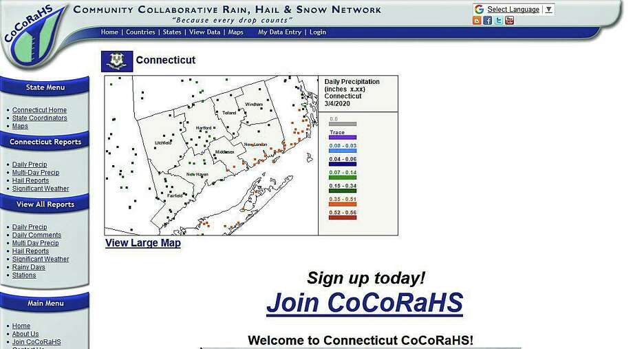 Connecticut's home page of the Community Collaboratibe Rain, Hail & Snow Network. Click here for a direct link. Photo: Shay, Jim