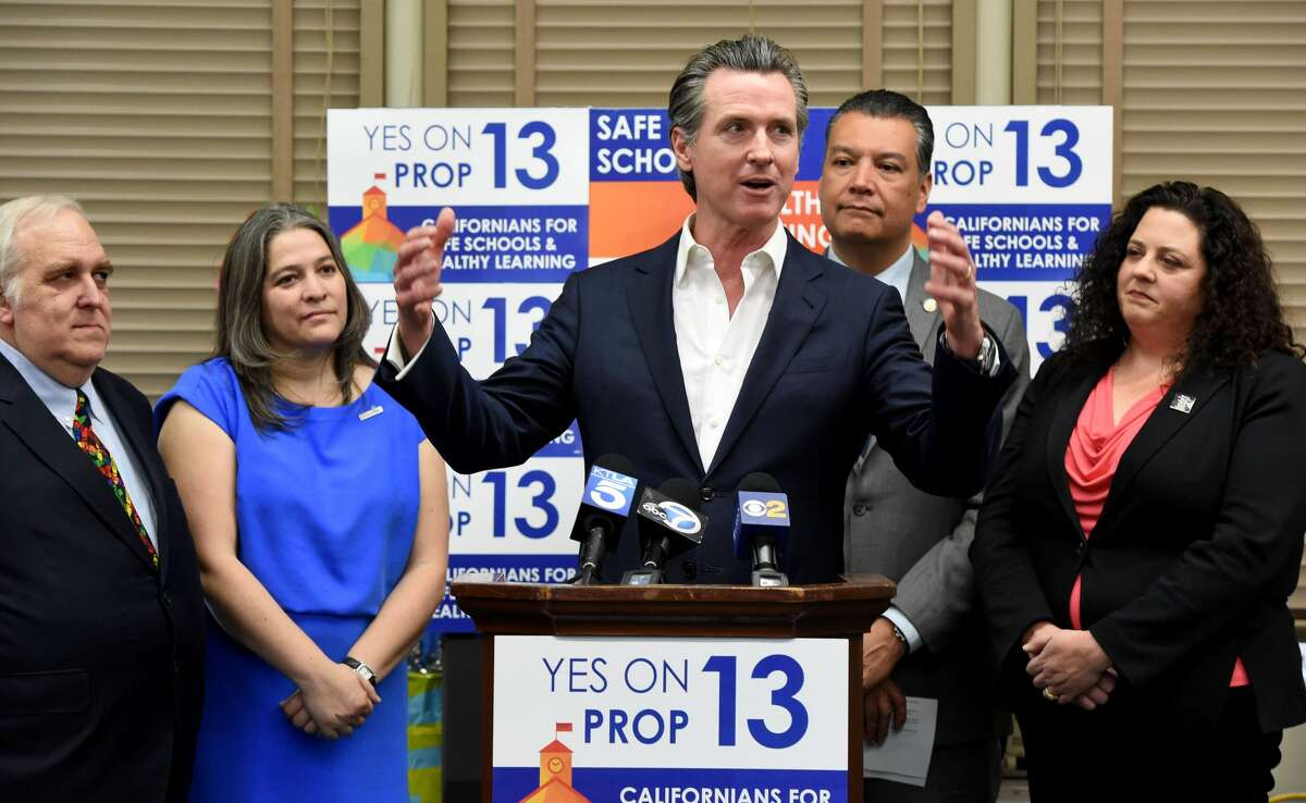 California Governor Gavin Newsom, toured Mark Twain Elementary School before holding a press conference to promote support for Proposition 13, the historic school facilities bond, in Long Beach on Friday, February 28, 2020. (Photo by Brittany Murray/MediaNews Group/Long Beach Press-Telegram via Getty Images)