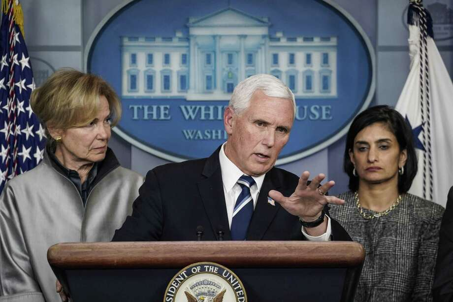 Vice President Mike Pence speaks during a briefing on the Trump administration's coronavirus response in the press briefing room of the White House March 3 in Washington, D.C. Photo: Drew Angerer / Getty Images / 2020 Getty Images