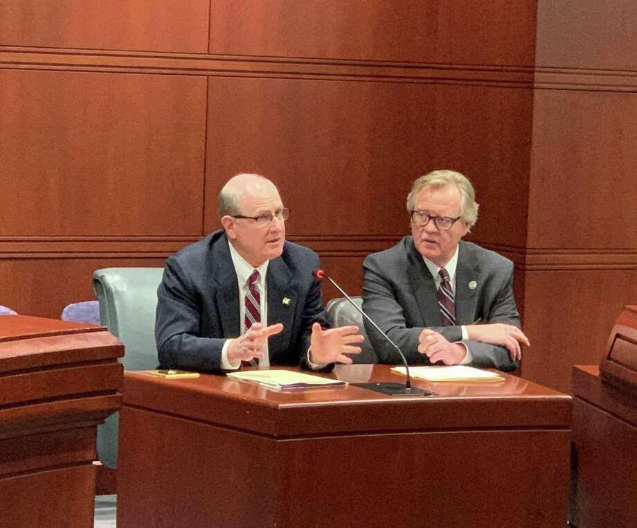 State Sen. Kevin Kelly (R-21), left, next to state Sen. Paul Formica (R-22), testified before the General Assembly's Veterans' Affairs Committee on Feb. 27 in favor of a bill to remove barriers to public assistance programs for veterans. Photo: Contributed Photo / Connecticut Post