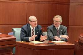 State Sen. Kevin Kelly (R-21), left, next to state Sen. Paul Formica (R-22), testified before the General Assembly's Veterans' Affairs Committee on Feb. 27 in favor of a bill to remove barriers to public assistance programs for veterans.
